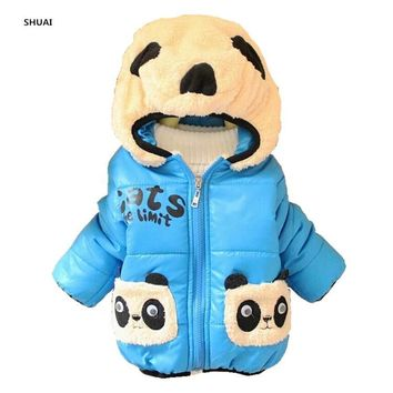 Trendy CNJiaYun Baby Girls Boys Jacket Winter Warm Thick Cotton Cartoon Panda hooded Kids Coat Children Lovely Outerwear kids Clothing AT_94_13