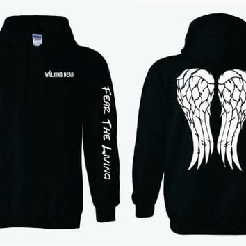 Fight The Dead Fear The Living Sleeves on The Walking Dead Hoodie with Daryl Dixon Angel Wings