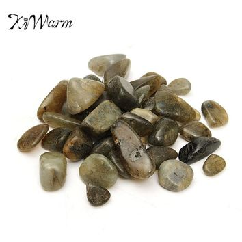 KiWarm 50g 13mm Gray Moonstone Gemstone Stone Minerals Polished Gravel Specimen for Flowerpots Fish Tank Terrarium Decoration