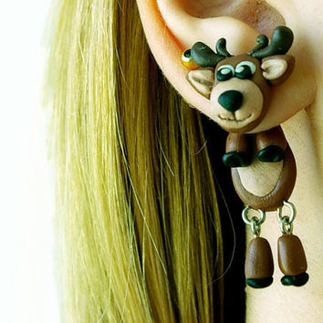 Christmas reindeer, fake gauge deer , Xmas plug moose, elk two part earrings, child gift, front back , Unique faux gauge, unusual tunnels
