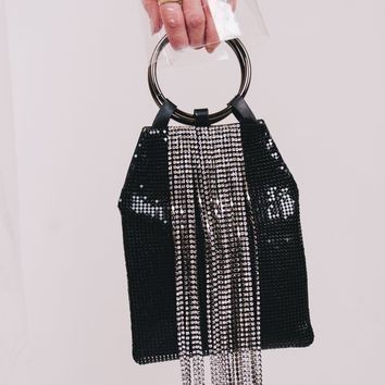 Diamond Tassel Small Handbag | Black