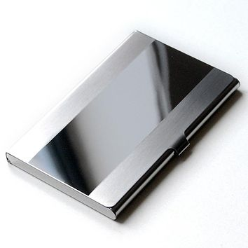 Waterproof Business ID Credit Card Holder Case Cover Stainless Steel Silver Aluminium Metal Case Box