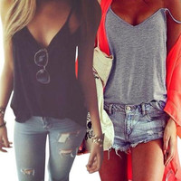 Women Summer Vest Sleeveless Cotton Shirt Blouse Loose Casual Tank Top T-Sh