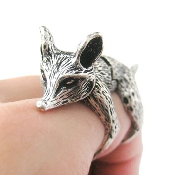 3D Fox Wolf Shaped Animal Wrap Armor Knuckle Joint Ring in Silver | Size 5 to 9