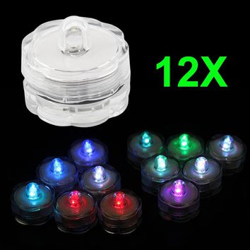 12pcs Super Bright Submersible Waterproof Mini LED Tea Light Candle Lights For Wedding Party Deocration Vase Light