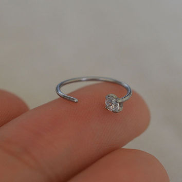 Cz nose ring,delicate nose ring,hoop nose ring,bestfriend gift