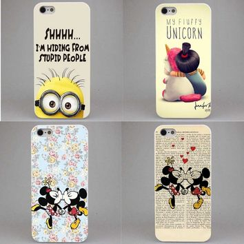 Sale Minion My Unicorn Agnes Hard  Mickey Mouse kissing Case Cover Coque for iPhone SE 4 4s 5 5s 5c 6 S 6Plus 7 7Plus 8 8Plus X