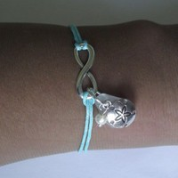 Infinity Bracelet with Sea Glass and Sand Dollar