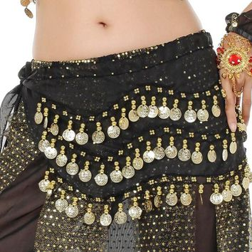 Belly Dance Hip Scarf - Persian, Gold Coins Chiffon