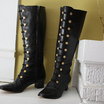 Phyllis Poland Riding Boots Black leather Gold buttons by Recy