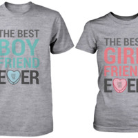 The Best Boyfriend & Girlfriend Ever Matching Couple Shirts in Grey (Set)