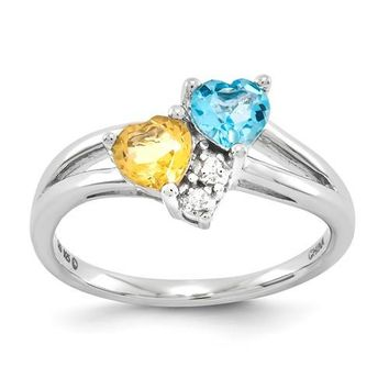 Sterling Silver Blue Topaz & Citrine Diamond Double Heart Ring