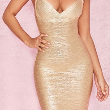 She Wants It All Gold Metallic Sleeveless V Neck Bodycon Bandage Mini Dress