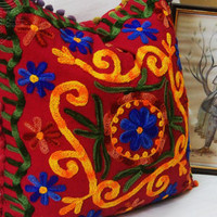 Suzani Cushion Cover Cute Gift Indian Decorative Pillows Turkish Style Royal Traditional Ethnic Artwork Woolen Embroidered Beautiful Covers