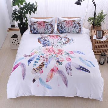 Bonenjoy White Bed Cover Dream Catcher Print Colorful Flower Queen King Size Bedding Set
