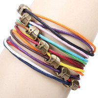 Bronze Elephant Friendship Chain Bracelet Handmade Multilayer Boho Cord Charm Fashion New Pop Charm = 1958034308