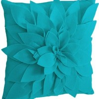 Sara's Garden Petal Decorative Throw Pillow. 17 Inch Square. (Teal, One Size)