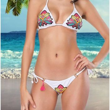 B| Chicloth Women Two Pieces Swimsuit Strings Floral Sequins Beading O-ring Tassel Bikini Set Bathing Swimwear