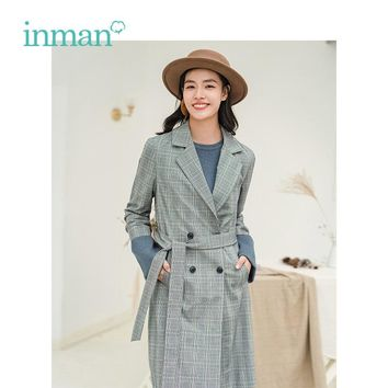 INMAN Winter Retro Style Plaid Show Waist Fitness Long Sleeve Women On Work Trench Coat