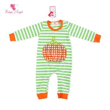 Kaiya Angel New Born Baby Clothes Baby Boys Girls Halloween Costume Stripe Baby Romper With Pumpkin 0-24M