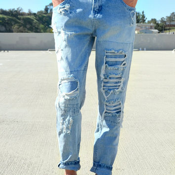 Harper Distressed BF Jeans