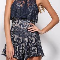 summer style Navy Sleeveless Flounce Lace Playsuit rompers womens jumpsuit sexy jumpsuit