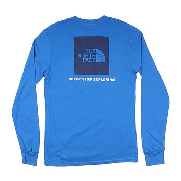 Men's Long Sleeve Red Box Tee in Turkish Sea by The North Face