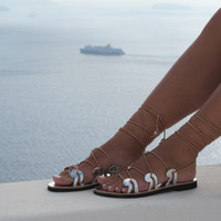 Greek Sandals, silver gladiators handmade of genuine leather, Unique design, NEW SS15 DANAE 05