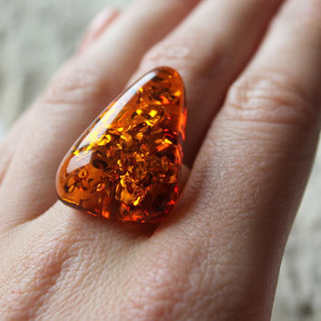 Baltic amber ring, Sterling silver, Amber jewellery, Natural amber, Handmade jewelry, cognac amber ring, elegant ring, massive amber ring