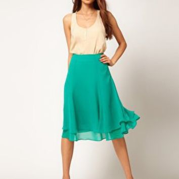 ASOS Soft Midi Skirt With Double Layer at asos.com