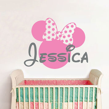 Wall Decal Vinyl Sticker Decals Home Decor Design Mural Disney Personalized Custom Baby Name Head Mice Ears Mickey Mouse Minnie Mouse AN632