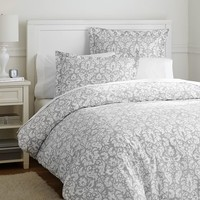 Damask Duvet Cover + Sham, Light Gray