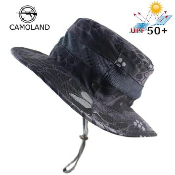 UPF 50+ Quick-drying Bucket Hat Summer Men Women Boonie Hat Outdoor UV Protection Light Military Army Fishing Tactical Sun Hat