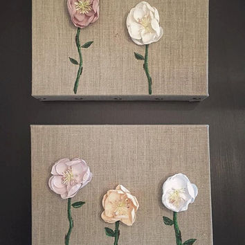 Shabby Chic Paper Flowers on Burlap Canvas--Set of 2