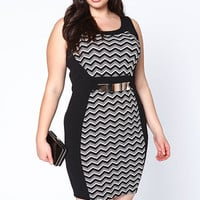PLUS SIZE GOLD BAR CHEVRON BODYCON DRESS