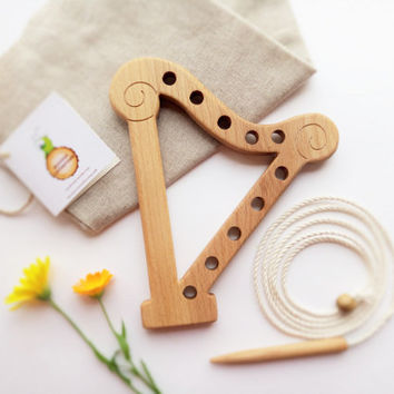 Wooden lacing toy Harp Fine Motor Skills Learning toy Educational Wooden Toy Montessori Wood Toys for Kids For music lovers