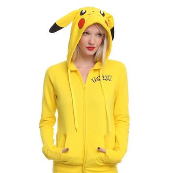 YANQIN  Pikachu Print Hoodies Women Anime Kawaii Cute Ears Oversized Hooded Sweatshirts Plus Size Zipper Long Sleeve TopsKawaii Pokemon go  AT_89_9