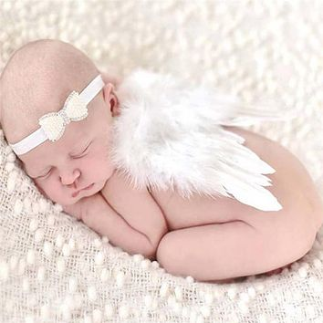 Lovely Baby Angel Wing Newborn Photography Props Set Baby Angel Fairy White Feather Wing Costume Photo Prop