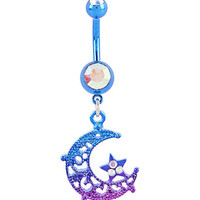 14G Steel Blue & Purple Cut-Out Moon & Star Navel Barbell
