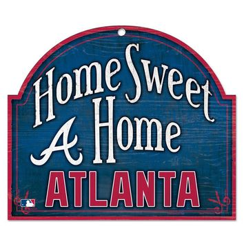 "ATLANTA BRAVES HOME SWEET HOME ARCHED WOOD SIGN 10""x11"" BRAND NEW WINCRAFT"