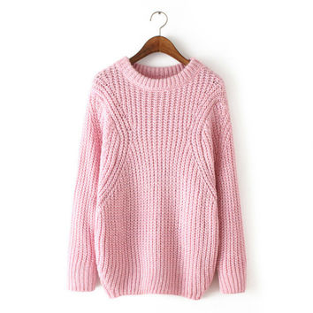 Simple Design Needles Pullover Knit Tops Sweater Winter Jacket [8216433089]