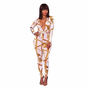 White Sexy Deep V Neck Gold Chain Print Skinny Jumpsuit