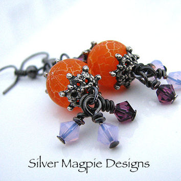 Dangle Earrings Dragon Vein Agate and Swarovski Crystal Orange Violet Lavender Handmade Art Jewelry Gift for Her by Silver Magpie Designs.