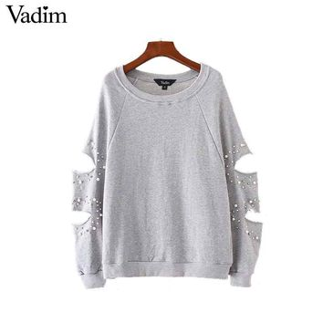 Vadim women chic cut out oversized pearls sweatshirt hollow out studde long sleeve loose pullover autumn casual sudaderas SW1262