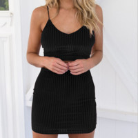 Fashion sexy straps  corduroy two-piece sexy dress black