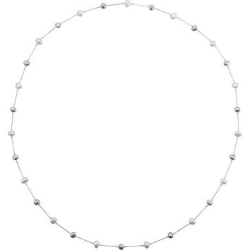 Sterling Silver 8.5-10mm FW Cultured Baroque Pearl Necklace, 47 Inch