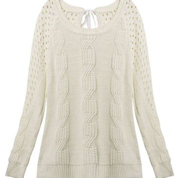 Casual Bow Hollow Pullover Loose Long Sleeve Knit Women Sweater