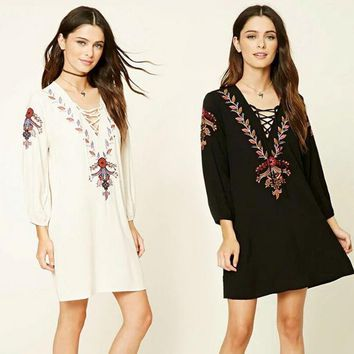 Fashion Deep V Crisscross Bandage Long Sleeve Retro Embroidery Mini Dress