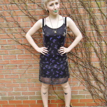 Vintage Retro 90s Grunge Iridescent Holographic Stretchy Butterfly Glitter Dress