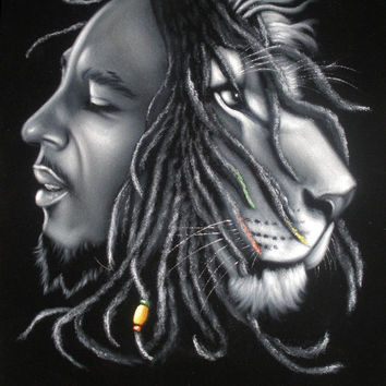 Bob marley music legend Iron Lion black velvet oil painting handpainted signed art